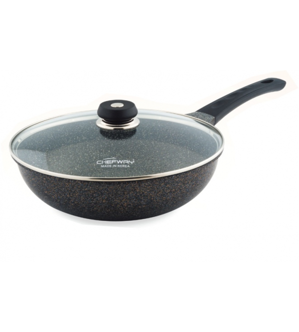 Chefway 28cm wok with glass lid